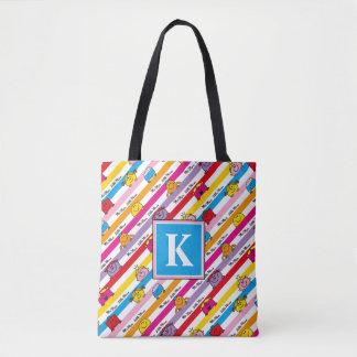 Rainbow Stripes Pattern | Monogram Tote Bag