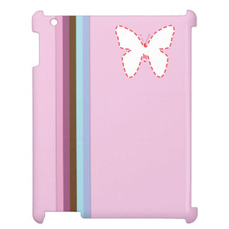 rainbow stripes & pink butterfly ipad case