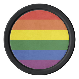 Rainbow stripes poker chips