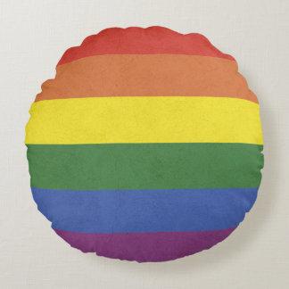 Rainbow stripes round pillow