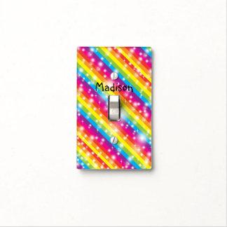 Rainbow Stripes Sparkle Girls Light Switch Cover