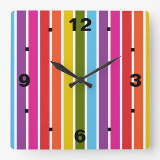 Rainbow Stripes Square Wall Clock
