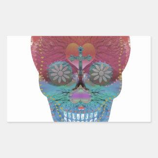 Rainbow sugar skull with tree of life and hearts sticker