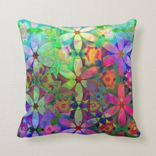 Rainbow Summer Garden Floral Pattern Throw Pillow