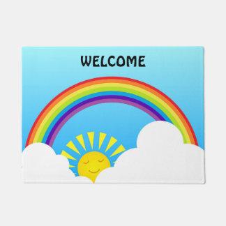 Rainbow sun and clouds doormat