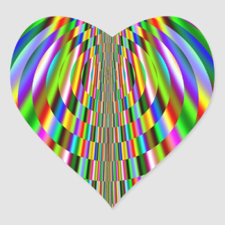 Rainbow Sun Rays Fractal Heart Sticker