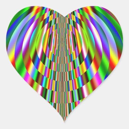 Rainbow Sun Rays Fractal Heart Sticker