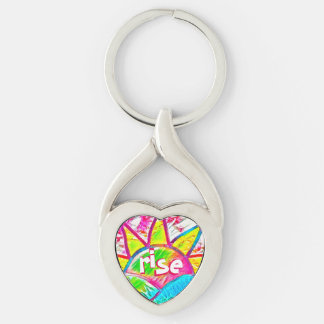 Rainbow Sun Rise ~ Uplifting Message Silver-Colored Twisted Heart Keychain