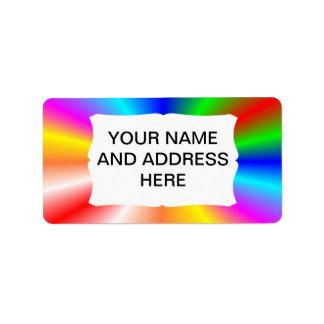 "Rainbow ""sunburst"" background custom address label"