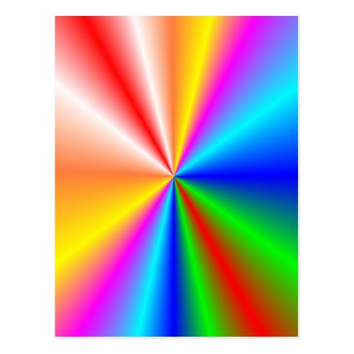 "Rainbow ""sunburst"" background postcard"