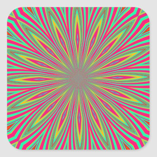 Rainbow sunflower abstract square sticker