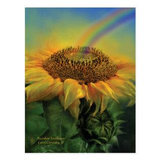 Rainbow Sunflower Art Postcard