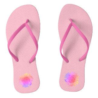 Rainbow Sunflower on Pink Flip Flops