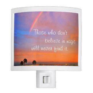 "Rainbow sunrise ""magic"" quote photo night light"