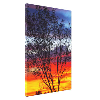 Rainbow sunset silhouette canvas print
