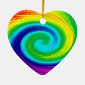 Rainbow Swirl Abstract Art Design Ceramic Ornament