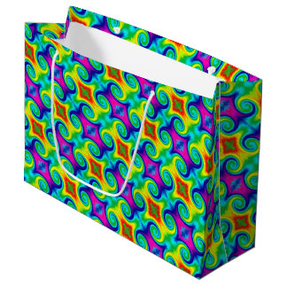 Rainbow Swirl Abstract Art Design Large Gift Bag