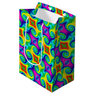 Rainbow Swirl Abstract Art Design Medium Gift Bag