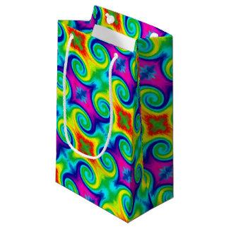 Rainbow Swirl Abstract Art Design Small Gift Bag