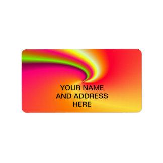 Rainbow swirl background custom address label
