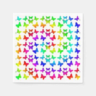 Rainbow Swirl Butterflies Paper Napkin