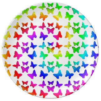Rainbow Swirl Butterflies Porcelain Plate