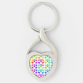 Rainbow Swirl Butterflies Silver-Colored Twisted Heart Keychain