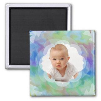 Rainbow Swirl/Custom Photo Square Magnet