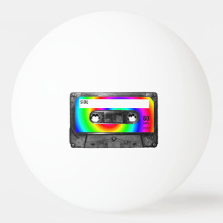 Rainbow Swirl Label Cassette Ping Pong Ball