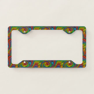 Rainbow Swirl License Plate Frame