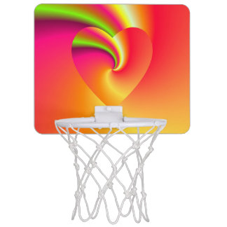 Rainbow Swirl Love Heart Mini Basketball Hoop