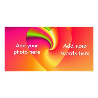 Rainbow Swirl Love Heart Photo Card