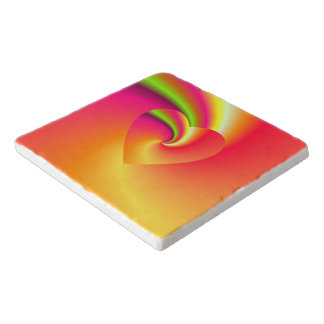 Rainbow Swirl Love Heart Trivet