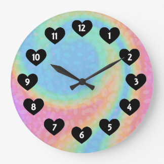 Rainbow Swirl With Heart Wall Clock