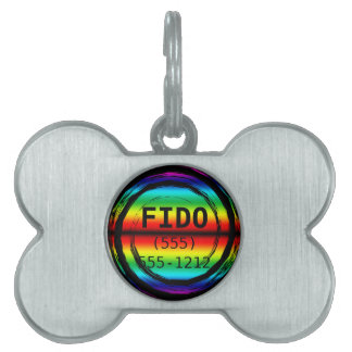 Rainbow Swirling Whirling Chasing His Tail Circle Pet Tag