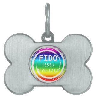 Rainbow Swirling Whirling Chasing Its Tail Circle Pet ID Tags