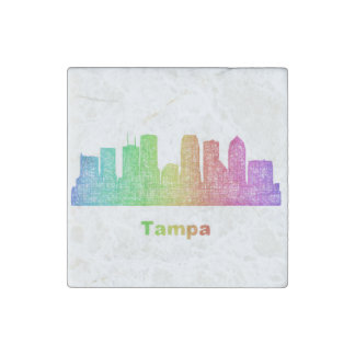 Rainbow Tampa skyline Stone Magnets