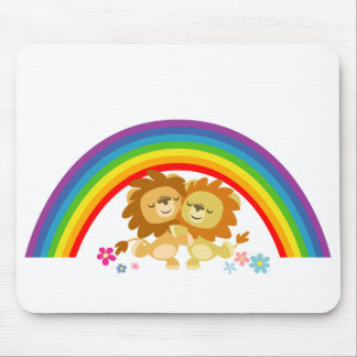 Rainbow Tango-Cute Cartoon Lions Mousepad