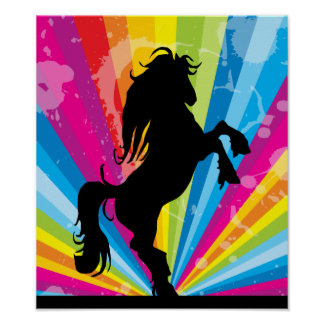 Rainbow Techno Silhouette Rearing Horse Poster