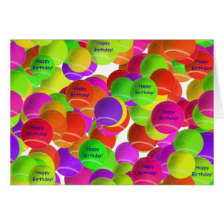 Rainbow Tennis Ball Birthday Wishes Card