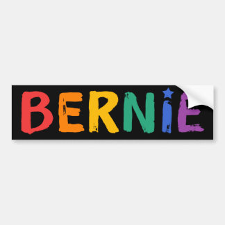 Rainbow Text Bernie Bumper Sticker