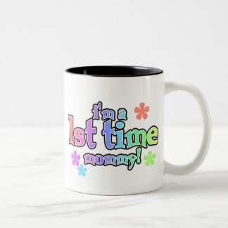 Rainbow Text First Time Mommy Two-Tone Coffee Mug