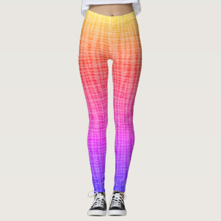 Rainbow Textural Lines Running Yoga Exercise Leggings