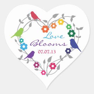 Rainbow Theme Birds Flowers Wedding Envelope Seal Heart Sticker