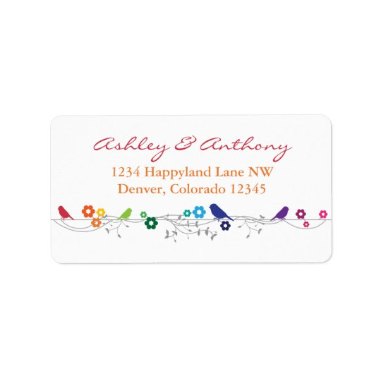 Rainbow Theme Birds Flowers Wedding Return Address