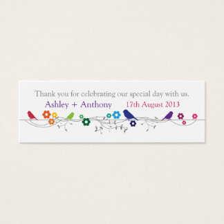 Rainbow Theme Birds Wedding Thank You Favor Tags