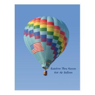 Rainbow Thru Heaven Hot Air Balloon Postcard
