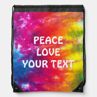 Rainbow Tie Dye Customized Drawstring Backpack