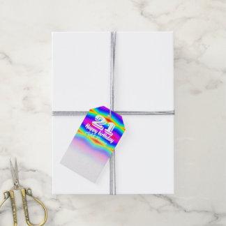 Rainbow tie-dye gift tags