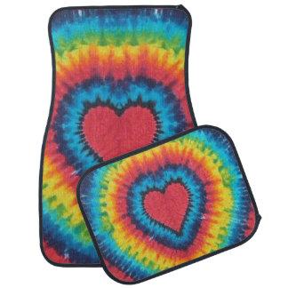 Rainbow tie dye heart car mat